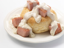 SPAM® and Gravy on Biscuits