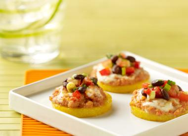 Polenta Topped with SPAM&#174; and Black Bean Salsa